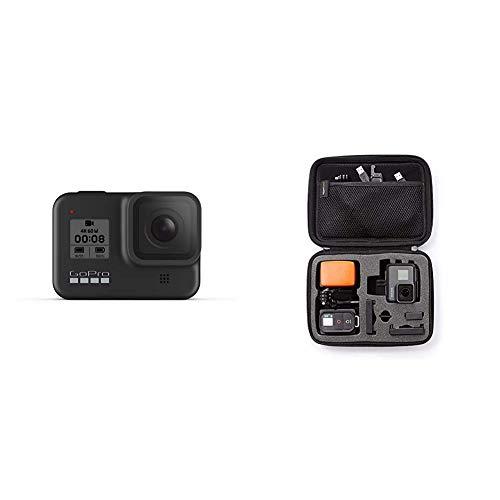 GoPro HERO8 Black - wasserdichte 4K-Digitalkamera mit Hypersmooth-Stabilisierung, Touchscreen und Sprachsteuerung - Live-HD-Streaming & Amazon Basics Tragetasche für GoPro Actionkameras, Gr. S