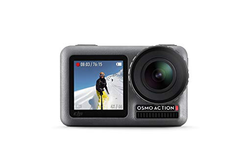 DJI Osmo Action Cam - Digitale Actionkamera mit 2 Bildschirmen 11m wasserdicht 4K HDR-Video 12MP 145° Winkelobjektiv Kamera, Schwarz*