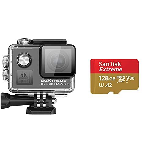 GoXtreme Blackhawk 4K+ ActionCam 4K-60fps Schwarz & SanDisk Extreme 128 GB microSDXC-Speicherkarte und SD-Adapter mit App Performance A2 und Rescue Pro Deluxe