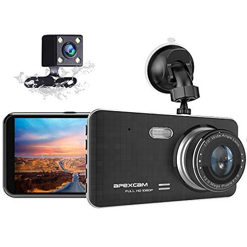 Apexcam Autokamera 4.0 Zoll IPS Full HD 1080P Vorne und Hinten Dashcam 170°Weitwinkel WDR Nachtsicht G-Sensor Loop-Aufnahme Parküberwachung Bewegungserkennung