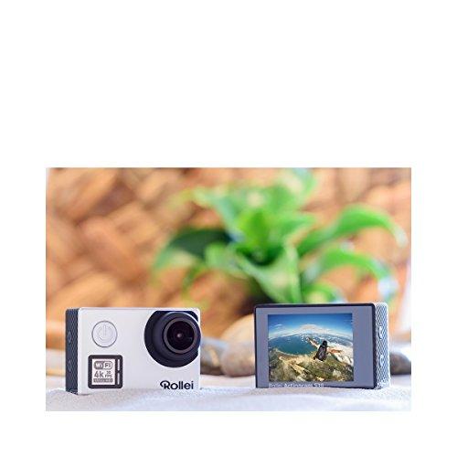 Rollei Actioncam 530 WiFi Action Cam (mit 4k Video Auflösung, Weitwinkelobjektiv, Bildstabilisierung, bis 40 m wasserfest, inkl. Unterwasserschutzgehäuse und Fernbedienung) silber