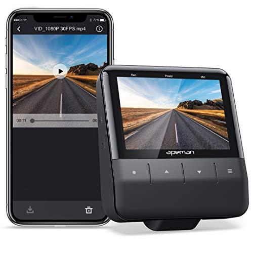APEMAN Wi-Fi Dash Cam mit App, 1080P Full HD-Autokamera Starvis Sensor, IPS-Display, Nachtsicht, Parkmonitor, Bewegungserkennung, Unterstützung 128G Max und GPS