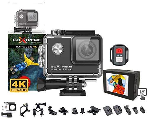 GoXtreme 'Impulse' 4K Action Cam mit Webcam-Funktion, 170° Weitwinkel, WiFi, 30 m wasserfest, Schwarz