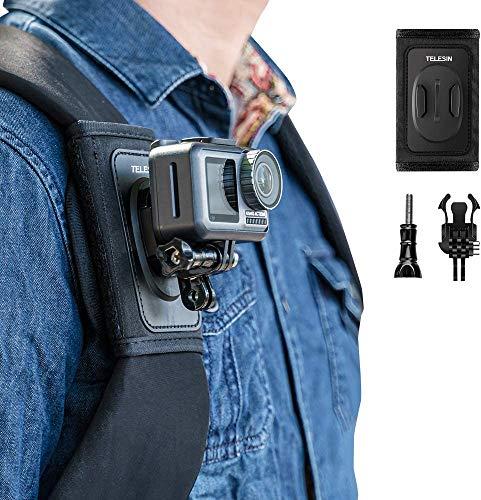 TELESIN Kompatible Rucksack-Schultergurt-Halterung für Kamera, verstellbares Schulterpolster und Gurt-Halterung für GoPro Hero 9/8/7/6/5/4/Session, Polaroid, Xiaomiyi, SJCAM, Osmo Action