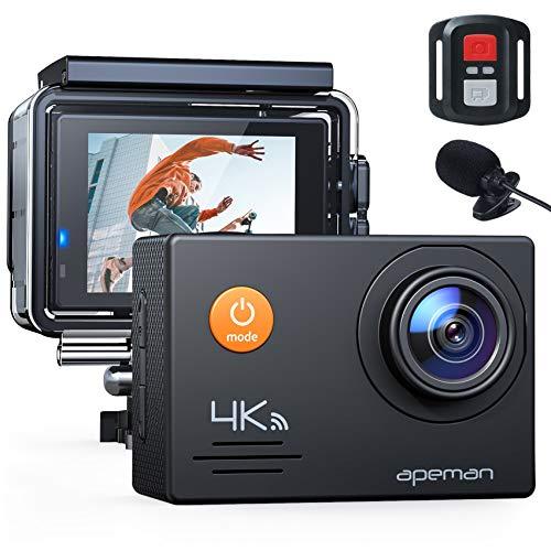 APEMAN Action Cam 4K WiFi 20MP wasserdichte 40M Unterwasserkamera mit Mikrofon und Fernbedienung (A79)