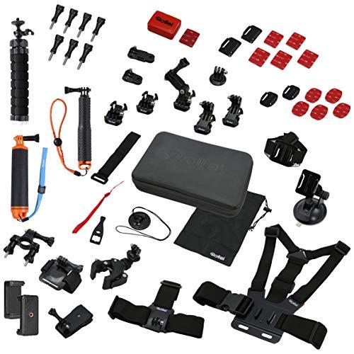 Rollei Actioncam Zubehör Set Sport XL - 49-teiliges Zubehör Set, inkl. Tasche, Mini Stativ und Selfie Stick, kompatibel mit allen Rollei und GoPro Actioncams