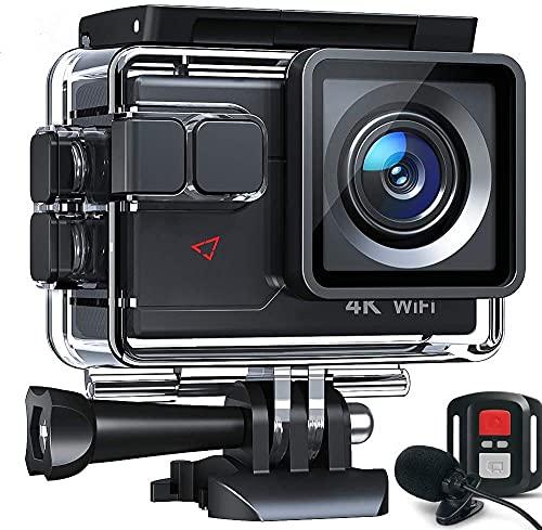 Action Cam AC700 4K 20MP WiFi Unterwasserkamera Ultra HD Wasserdicht 40M Sportkamera 2.0'LCD 170° Weitwinkel 2.4G Fernbedienung 2 1050mAh Akkus und viel Zubehör