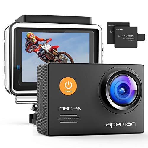 APEMAN Action Cam A70,1080P Full HD WiFi 14MP Unterwasserkamera Digitale wasserdichte 30M Helmkamera (kostenlose Zubehör, 2x1050mAh verbesserten Batterien)