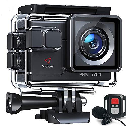 Victure AC700 Action Cam 4K WiFi 20MP wasserdichte 40M Unterwasserkamera helmkamera mit EIS Sensor, 2.4G Fernbedienung, externem Mikrofon und Montage Zubehör Kit und 2 Akkus
