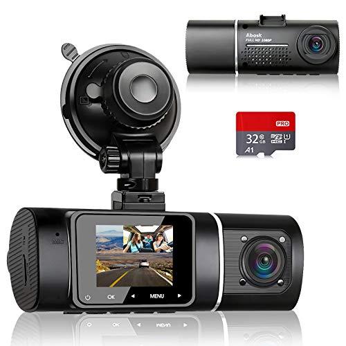 Abask Dashcam Dual 1080P Full HD Infrarot Nachtsicht Autokamera Vorne und Hinten mit 32GB SD-Karte, 310 ° Weitwinkel, G-Sensor, HDR, Loop-Aufnahm, Parküberwachung und Bewegungserkennung, Bis zu 64 GB