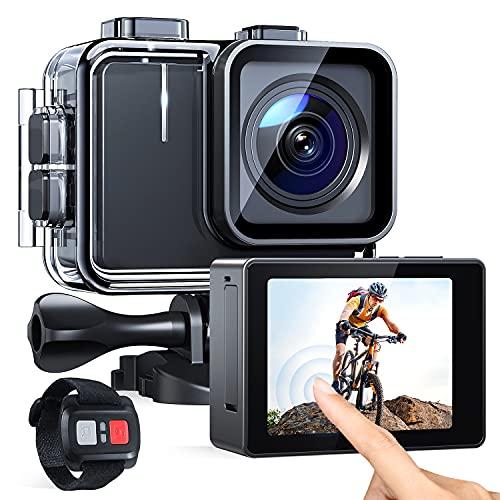 APEMAN A100 Action-Kamera 20MP 2-Zoll-Touchscreen 6-Achsen-EIS WiFi ausgestattet mit Fernbedienung 40M wasserdichte Unterwasserkamera 2 * 1350mAh Batterien und Zubehör Kit