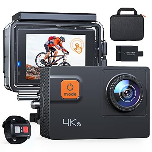 Action Cam A87,UHD 4K 60fps Touchscreen WiFi Unterwasserkamera 20MP Digitale wasserdichte 40M Helmkamera (2.4G Fernbedienung,kostenlose Transporttasche, 2x1050mAh verbesserten Batterien)