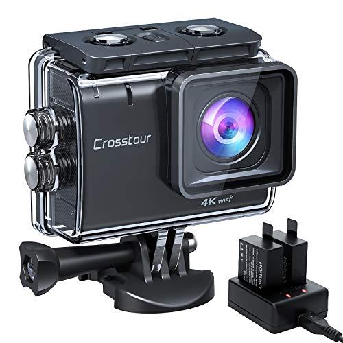 Action Cam 4K/50FPS, Crosstour CT9500 Unterwasserkamera, WiFi Helmkamera 40M Wasserdicht EIS 2X1350mAh Akkus und Akkuladegerät
