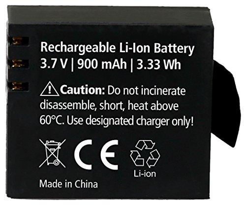 Rollei Akku Actioncam 372 / 510 / 610 / 525 / 625 / 540 - Lithium-Ionen-Akku (3,7 V/900 mAh) - Schwarz