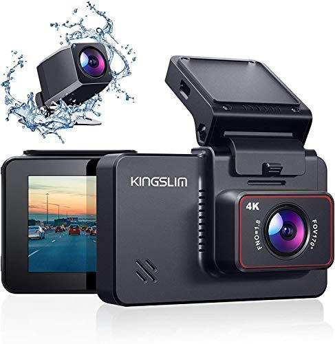 Kingslim 4K Dual Dashcam mit WiFi GPS, vordere 4K/2.5K hintere 1080P Autokamera, 3 'IPS Touchscreen 170 ° FOV Dashboard Cam mit Starvis Sensor, Unterstützung 256GB max-D4