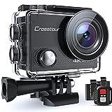 Action Cam 4K, Unterwasserkamera Crosstour CT9000 (20MP WiFi Wasserdicht 40M Helmkamera Fernbedienung und 2 Akkus)