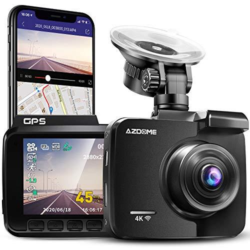 AZDOME 4K WiFi Dashcam mit GPS Autokamera mit 170° Weitwinkelobjektiv, Nachtsicht, Loop-Aufnahme, G-Sensor, Parkmonitor und Bewegungserkennung Auto Dashcam(GS63H)