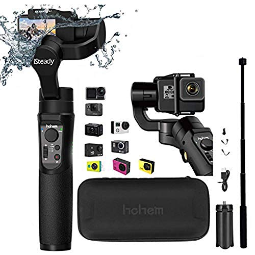 Hohem iSteady Pro 2 Gimbal 3-Axis Stabilizer for Action Camera Compatible with Gopro Hero 7/6/5/4/3+/3,Sony RX0,Yi Cam 4K,AEE,SJCAM,DJI OSMO Actioncam, Splashwaterproof,with Tripod and Extension Rod