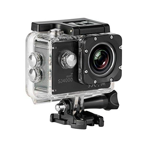SJCAM SJ-4000-WiFi SJ4000 Deutsche Version wasserdichte Sport Actionkamera (5,08 cm (2 Zoll), FHD, 1080p, 30m, 12MP, 16 Zubehörteile) schwarz